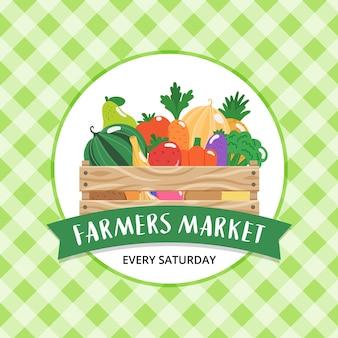 Fondo del mercato degli agricoltori con scatola di legno con frutta e verdura e scritte disegnate a mano