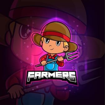 Mascotte degli agricoltori esport logo colorato