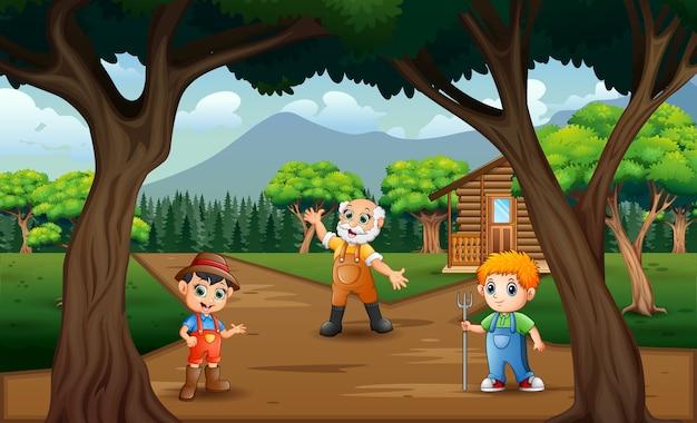 I contadini in piedi sulla strada di campagna
