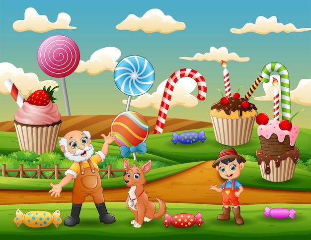I contadini sullo sfondo della terra dolce