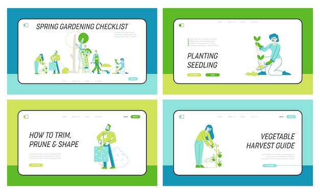 Agricoltori, taglio, cura di alberi e piante set di modelli di pagina di destinazione