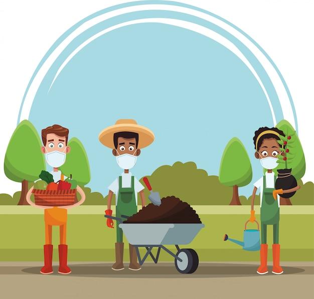 Gli agricoltori che indossano maschere mediche scena
