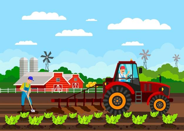Agricoltori che lavorano vettore piano dei personaggi dei cartoni animati