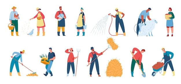 Agricoltori che lavorano in fattoria lavoratori agricoli e giardinieri con set di strumenti vettoriali