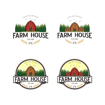Fattoria, design vintage logo agricoltura Vettore Premium