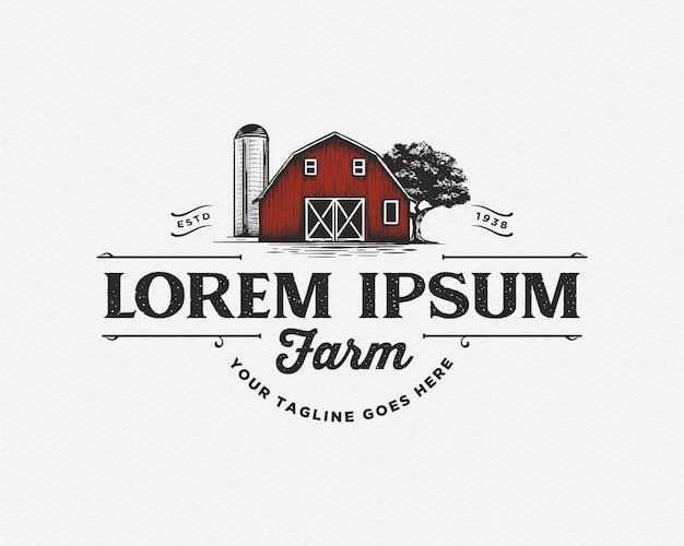 Agriturismo fienile agricoltura logo vintage design