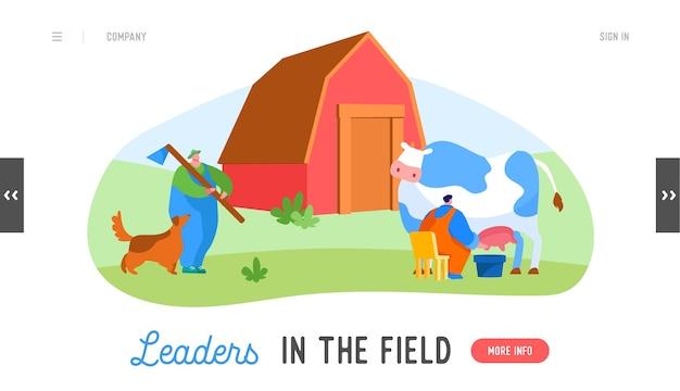 Farming rancher che lavora al modello di pagina di destinazione del ranch degli animali