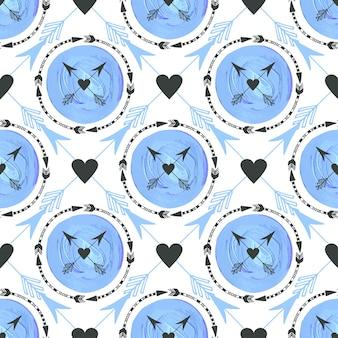 Sfondo di moda con frecce e cerchi ornamento. disegno geometrico della stampa. struttura senza saldatura tribale vettore blu texture pittura.