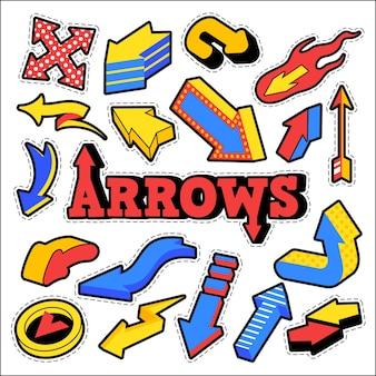 Distintivi di moda, patch, adesivi a tema frecce. diverse frecce in stile fumetto. illustrazione