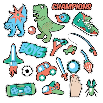 Distintivi di moda, patch, adesivi a tema per ragazzi. giocattoli, sport, auto e registratore musicale in stile fumetto. illustrazione