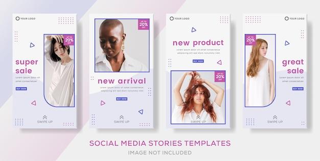 Banner di moda per storie di modelli social media post premium vector