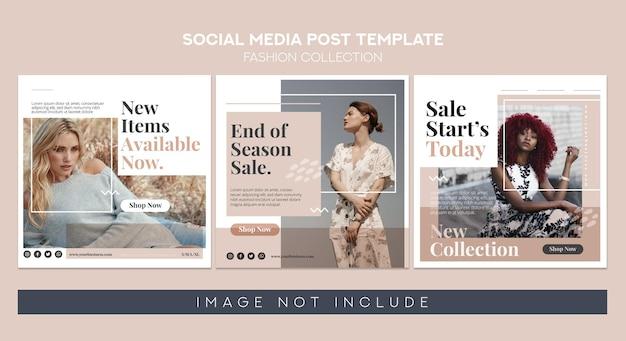 Banner di moda per social media post e modello di feed parte 1