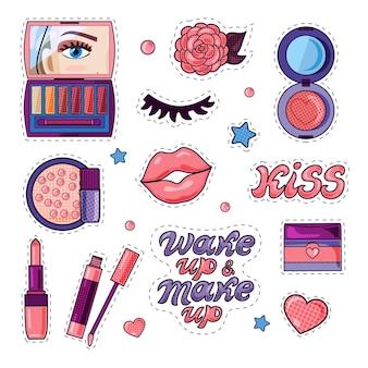 Moda e cosmetici di bellezza e adesivi di testo