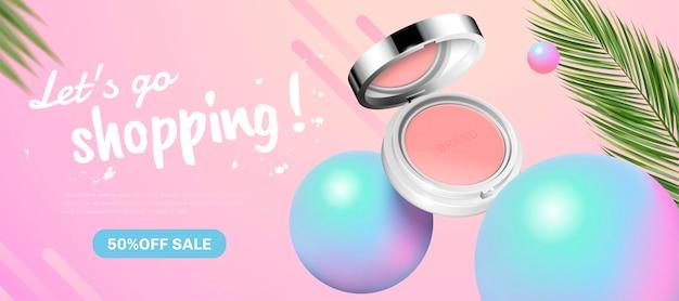 Banner di moda blush banner con elementi di sfere olografiche in stile 3d Vettore Premium