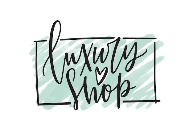 Illustrazione vettoriale di logo boutique di moda. logotipo di negozio di vestiti con calligrafia a mano libera di inchiostro nero e verde menta stoke isolato su priorità bassa bianca. disegno di iscrizione del negozio di abbigliamento.