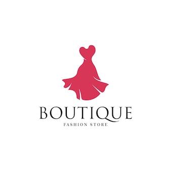 Modello di logo del negozio di boutique di moda con vestito isolato