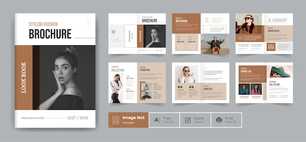 Modello di progettazione di brochure di moda o tema di relazione annuale del modello di brochure del profilo aziendale