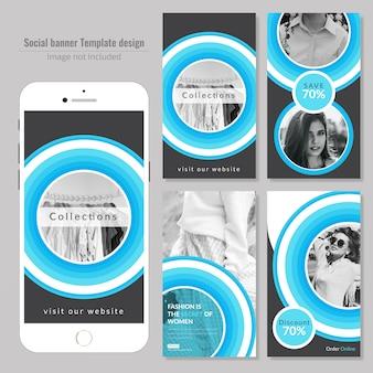 Modello di media sociali di moda cerchio circolare