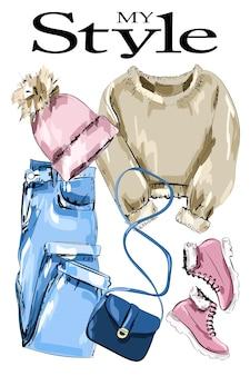 Set di abbigliamento di moda con maglione lavorato a maglia