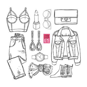 Collezione di moda di abbigliamento e accessori di schizzo di ragazza. stile donna casual. illustrazione disegnata a mano