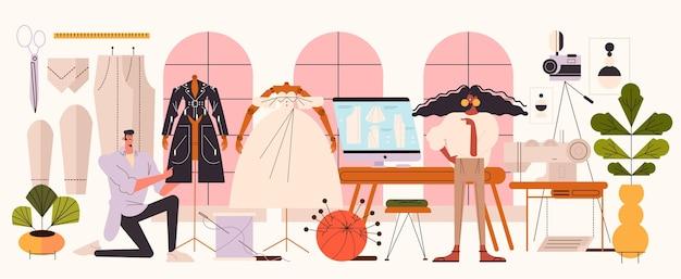 Illustrazione piana del concetto di stilista di moda