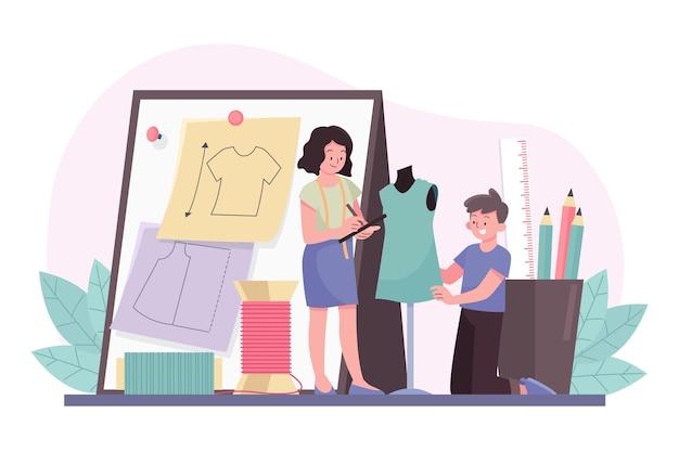 Illustrazione di concetto di stilista di moda