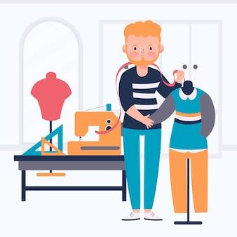 Illustrazione di stilista con uomo e macchina da cucire
