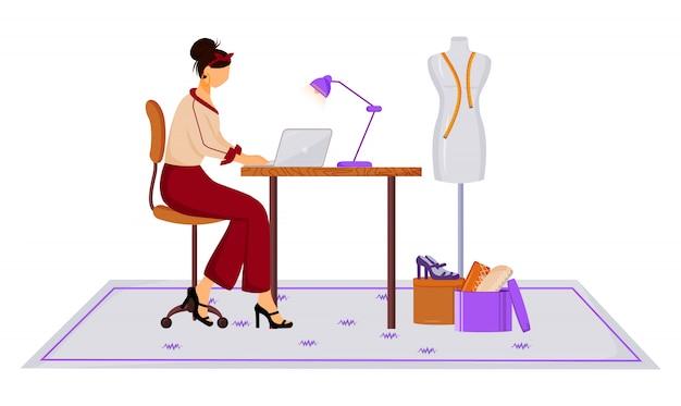 Fashion er in atelier color illustration. creazione di abbigliamento moderno con il laptop. lavoro creativo. progettazione della nuova collezione nel personaggio dei cartoni animati dello studio su fondo bianco