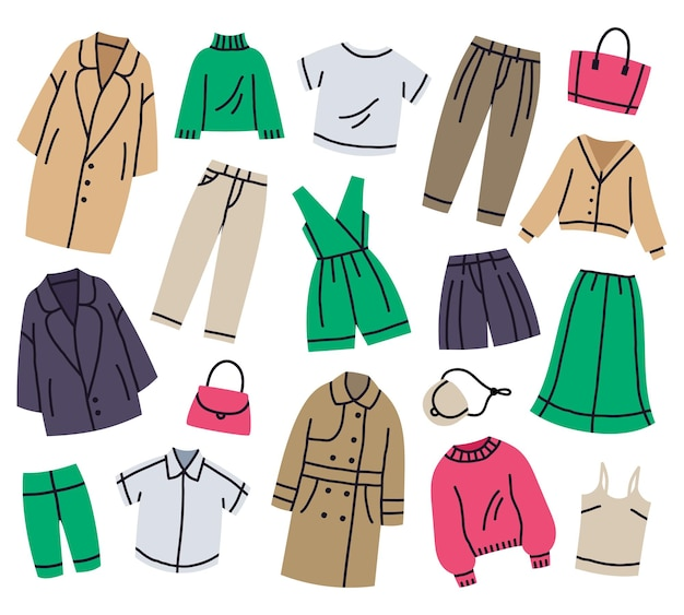 Insieme dell'illustrazione di vettore del fumetto dei vestiti alla moda casuali del guardaroba femminile di modo