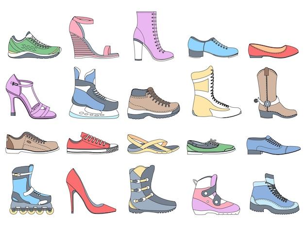 Calzature di moda nell'illustrazione sportiva