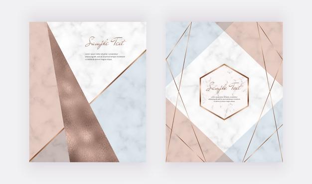 Fashion design geometrico con forme di triangoli di lamina rosa, blu e rame pastello e linee dorate.