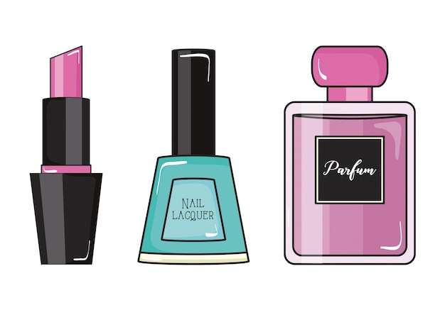 Smalto per unghie ragazza alla moda e profumo con rossetto stile pop art