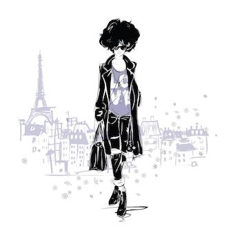 Ragazza di moda in stile schizzo. ritratto di donna di moda.