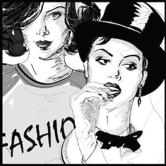 Ragazza di moda nell'illustrazione di stile di abbozzo.