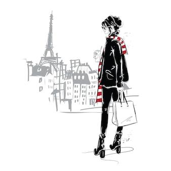 Ragazza di moda in stile schizzo a parigi. illustrazione.