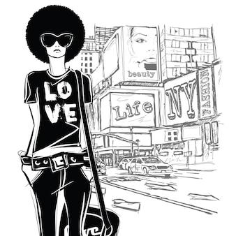 Ragazza di moda in stile schizzo su uno sfondo di strada.