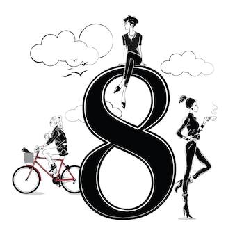 Ragazze di moda in stile schizzo con numero otto. illustrazione vettoriale.