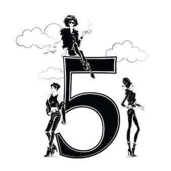 Ragazze di moda in stile schizzo con numero cinque. illustrazione vettoriale.