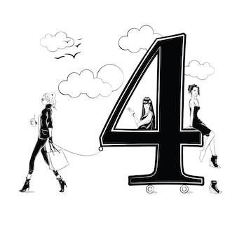 Ragazze di moda in stile schizzo con numero quattro. illustrazione vettoriale.