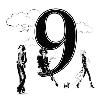 Ragazze di moda in stile schizzo con numero nove. illustrazione vettoriale.