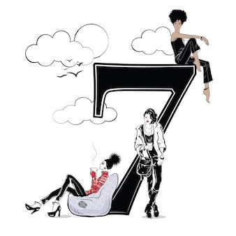 Ragazze di moda in stile schizzo con numero sette. illustrazione vettoriale.