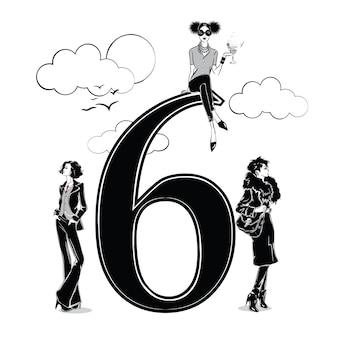 Ragazze di moda in stile schizzo con numero sei. illustrazione vettoriale.