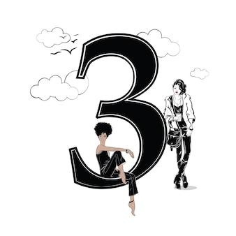 Ragazze di moda in stile schizzo con numero tre. illustrazione vettoriale.