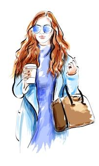 Signora della moda nell'illustrazione degli occhiali da sole