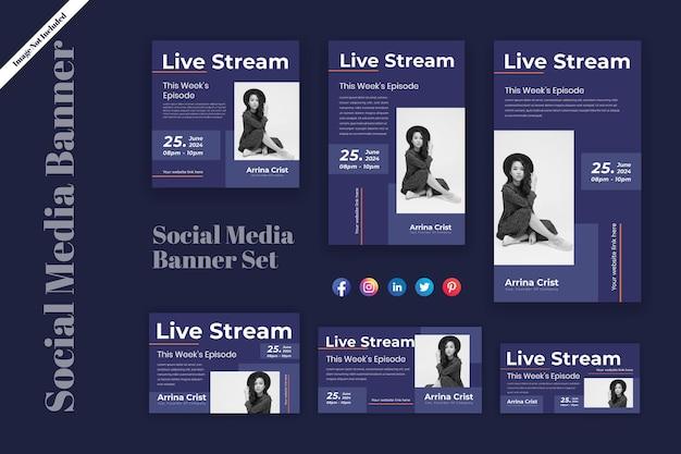 Design di banner pubblicitari per spettacoli in live streaming di moda