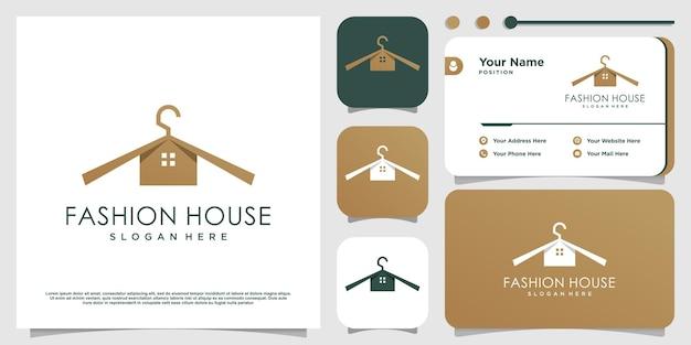 Logo di moda con il concetto di casa vettore premium