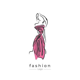 Logo di moda donna con uno stile di linea, concetto di logo astratto