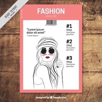 Rivista di moda con il modello disegnare a mano