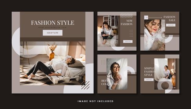Collezione di modelli di post sui social media minimalisti di moda