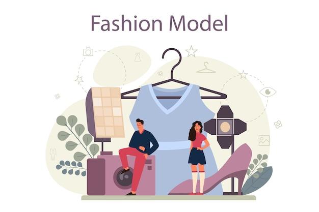 Concetto di modello di moda. l'uomo e la donna rappresentano nuovi vestiti in una sfilata di moda e in un servizio fotografico. operaio del settore della moda.